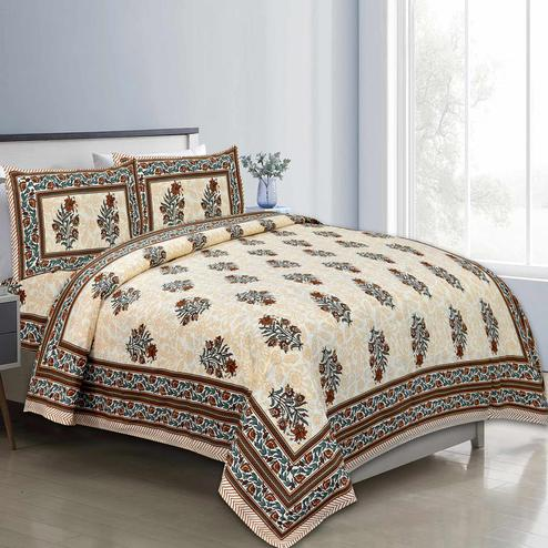 Gleaming Brown Colored Floral Printed Pure Cotton Double Bedsheet With Pillow Cover