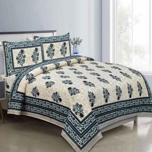 Mesmeric Black Colored Floral Printed Pure Cotton Double Bedsheet With Pillow Cover