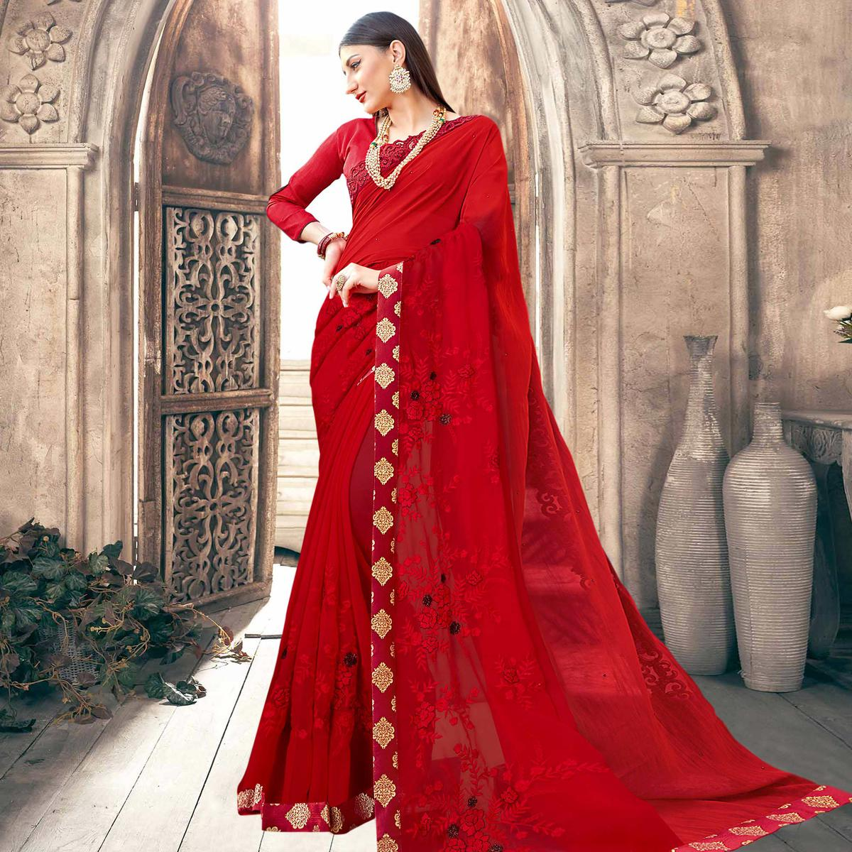 Mesmerising Red Colored Partywear Embroidered Georgette Saree