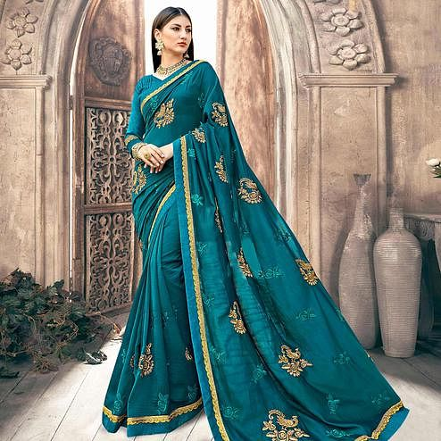 Ravishing Rama Blue Colored Partywear Embroidered Georgette Saree