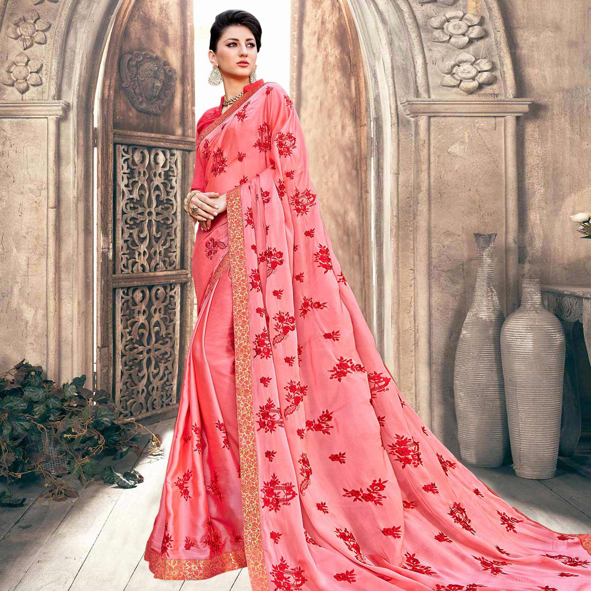 Staring Pink Colored Partywear Embroidered Georgette Saree