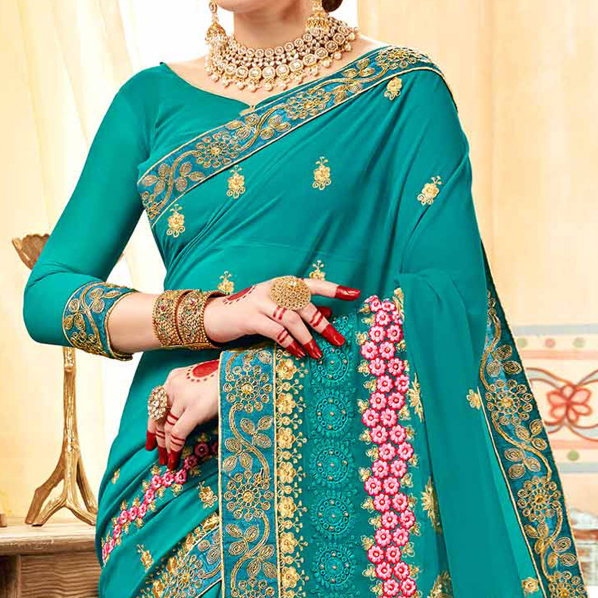 Exceptional Aqua Blue Colored Partywear Embroidered Georgette Saree