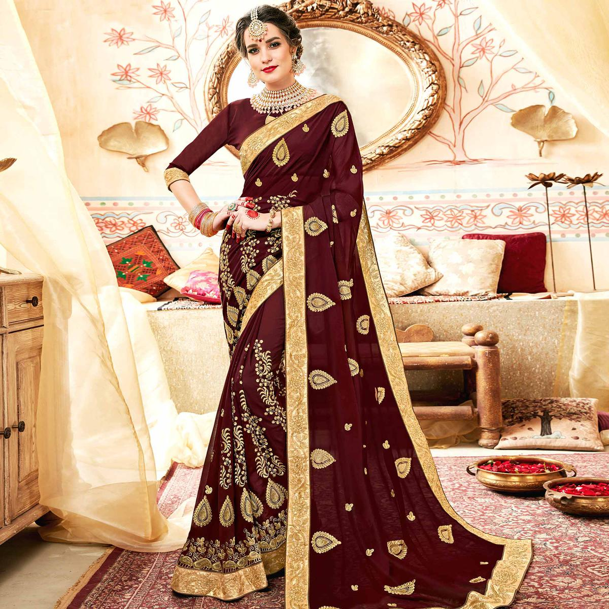 Gorgeous Brown Colored Partywear Embroidered Georgette Saree