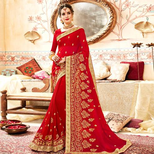 Unique Red Colored Partywear Embroidered Georgette Saree