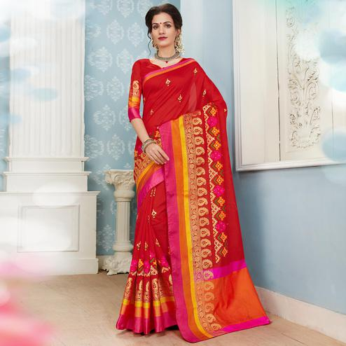 Glowing Red Colored Festive Wear Embroidered Banarasi Silk Saree