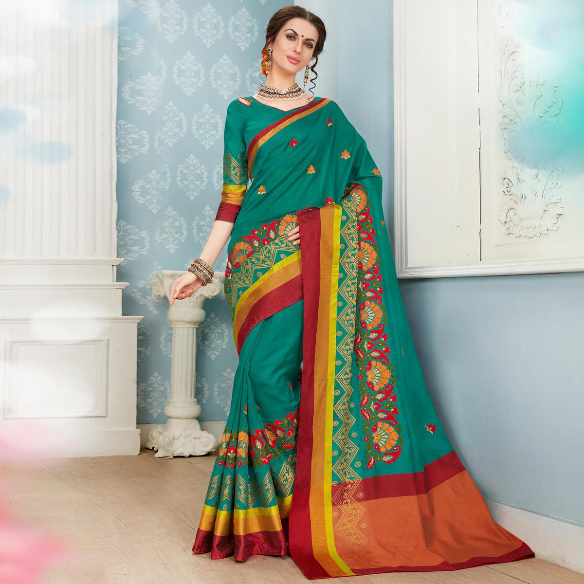 Exceptional Ocean Green Colored Festive Wear Embroidered Banarasi Silk Saree