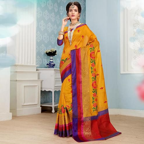 Gleaming Mustard Yellow Colored Festive Wear Embroidered Banarasi Silk Saree