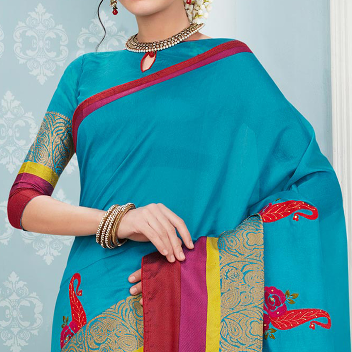 Unique Sky Blue Colored Festive Wear Embroidered Banarasi Silk Saree