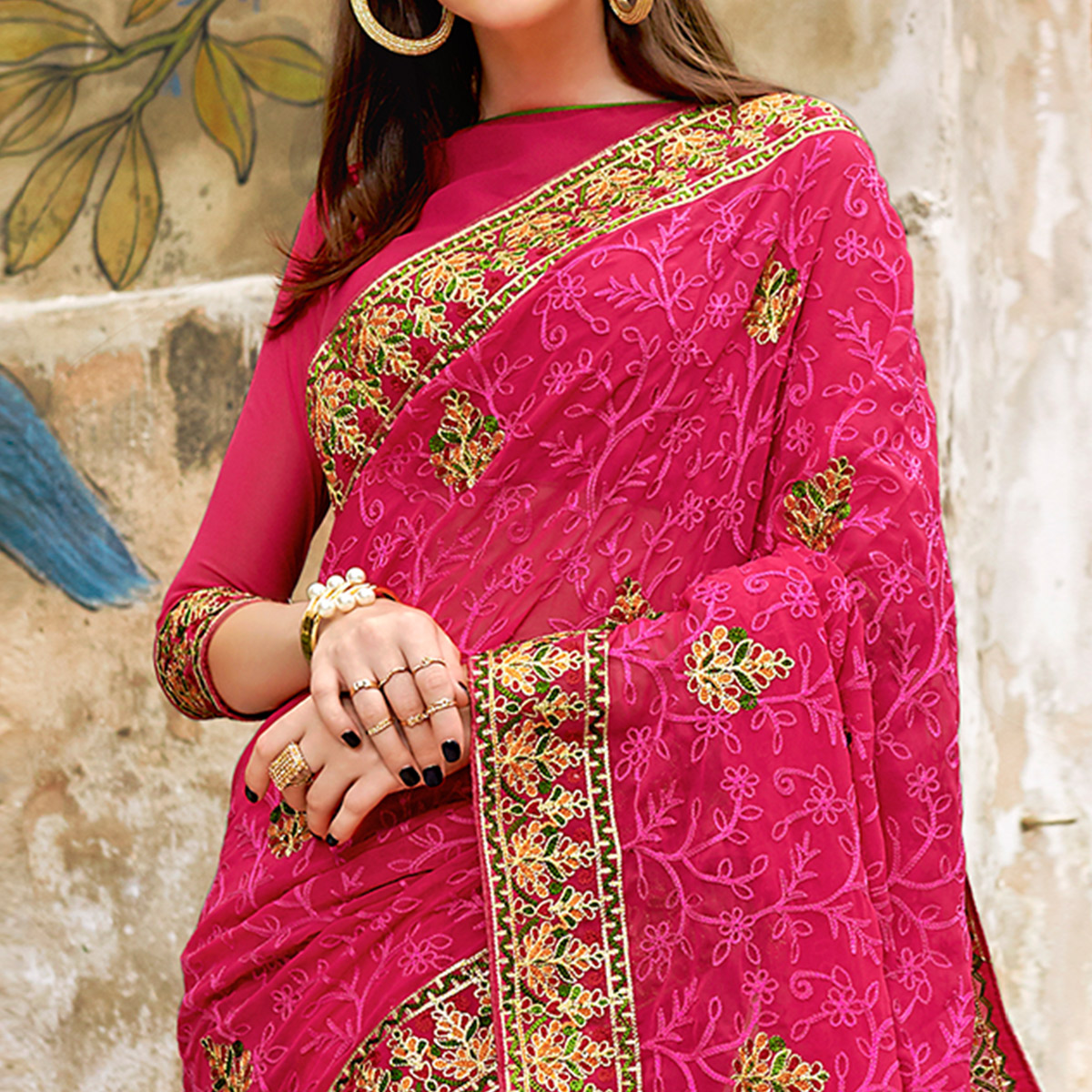 Prominent Pink Colored Partywear Embroidered Georgette Saree