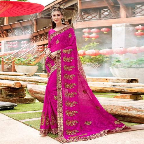 Adorning Pink Colored Partywear Embroidered Georgette Saree