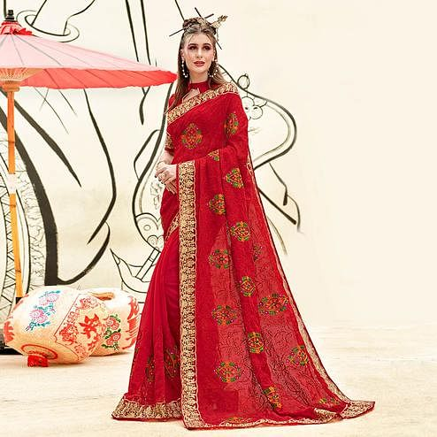 Desirable Red Colored Partywear Embroidered Georgette Saree