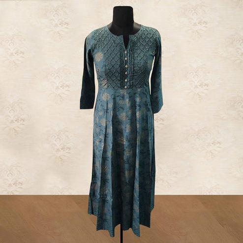 Demanding Green Colored Partywear Printed Cotton Kurti