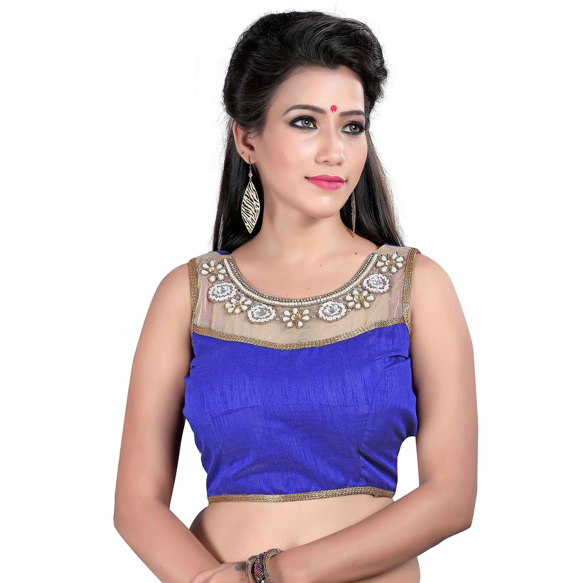 Royal Blue Readymade Designer Blouse