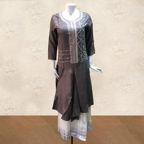Magnetic Grey Colored Partywear Embroidered Cotton Kurti-Palazzo Set
