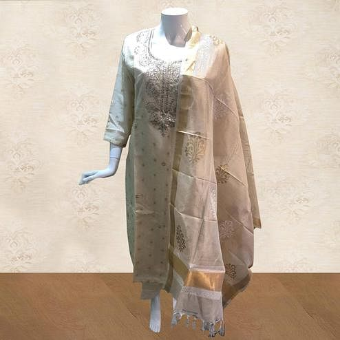 Preferable Beige Colored Partywear Embroidered Cotton Palazzo Suit