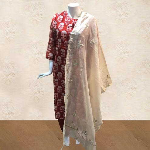 Marvellous Red Colored Casual Printed Cotton Palazzo Suit