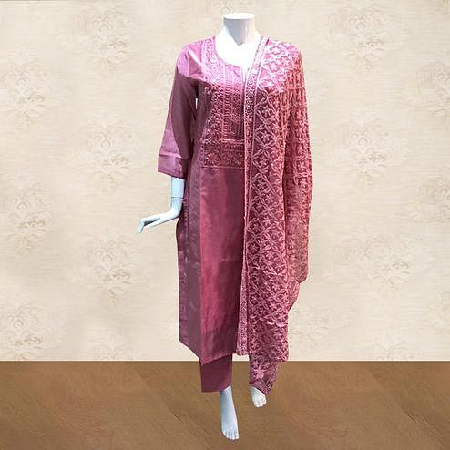 Pretty Pink Colored Partywear Embroidered Cotton Palazzo Suit
