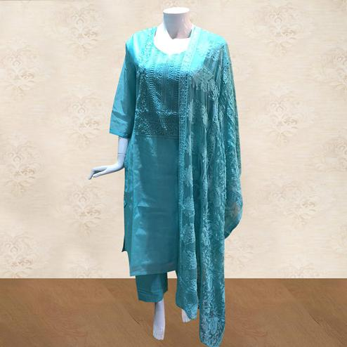 Alluring Blue Colored Partywear Embroidered Cotton Palazzo Suit