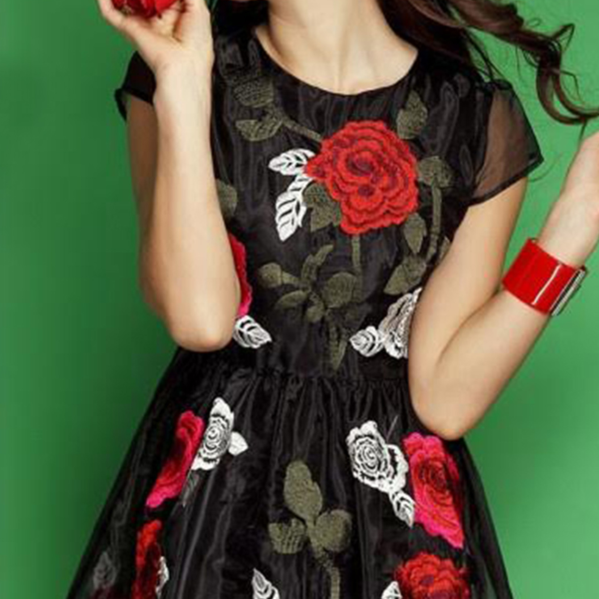 Black Floral Georgette Tunic