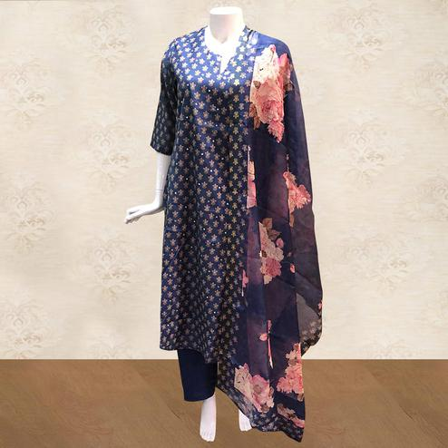 Sensational Navy Blue Colored Partywear Printed Cotton Palazzo Suit