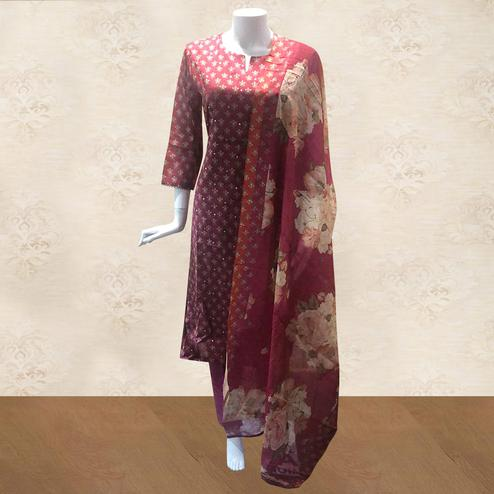 Flaunt Maroon Colored Partywear Printed Cotton Palazzo Suit