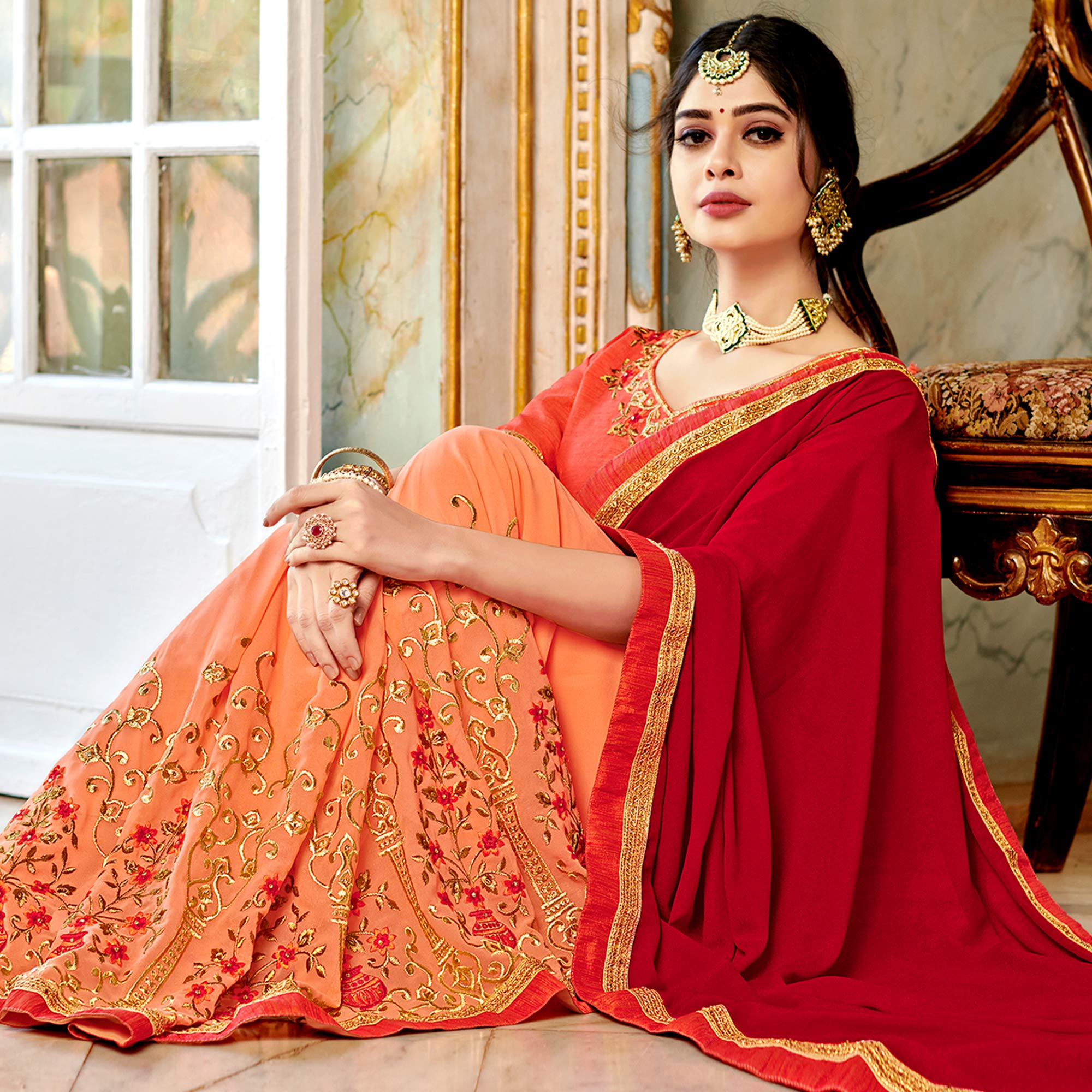 Majesty Peach-Red Colored Partywear Embroidered Georgette Half-Half Saree