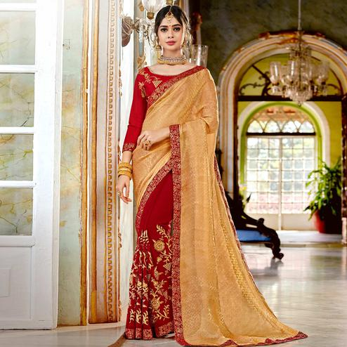 Imposing Red-Beige Colored Partywear Embroidered Georgette Half-Half Saree