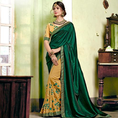 Ideal Beige-Bottle Green Colored Partywear Embroidered Georgette Half-Half Saree