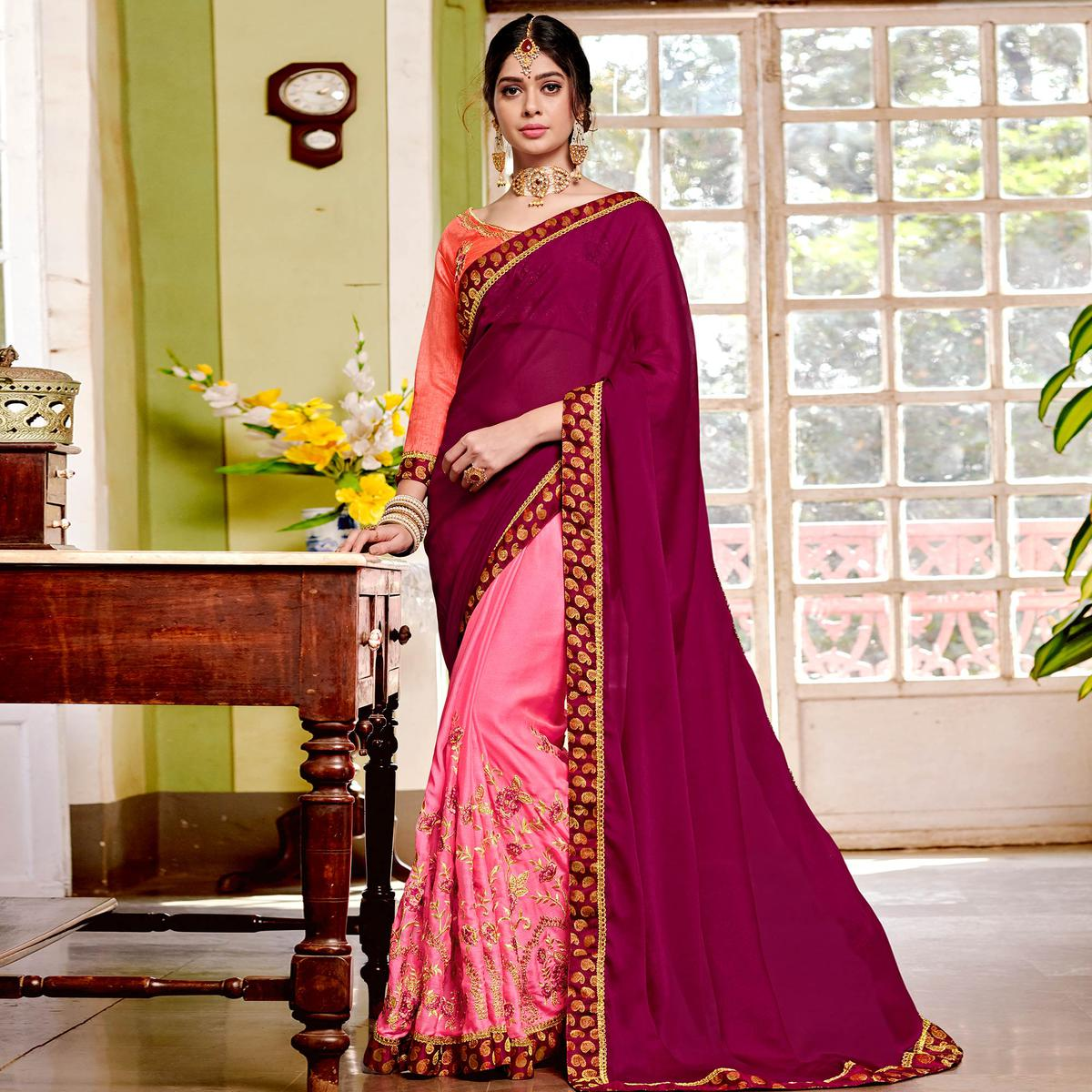 Blissful Pink Colored Partywear Embroidered Georgette Half-Half Saree