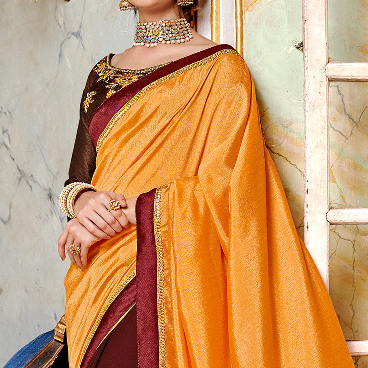 Gorgeous Brown-Yellow Colored Partywear Embroidered Georgette Half-Half Saree
