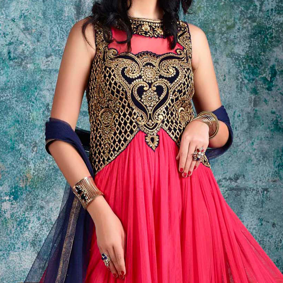 Pink Color Net & Velvet Fabric Indo Western Full Flared Anarkali