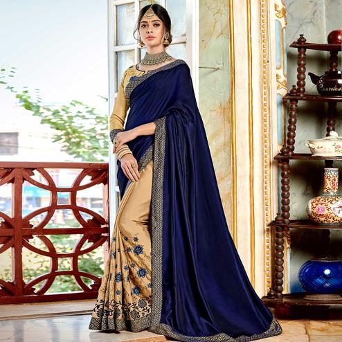 Amazing Chiku-Navy Blue Colored Partywear Embroidered Georgette Half-Half Saree