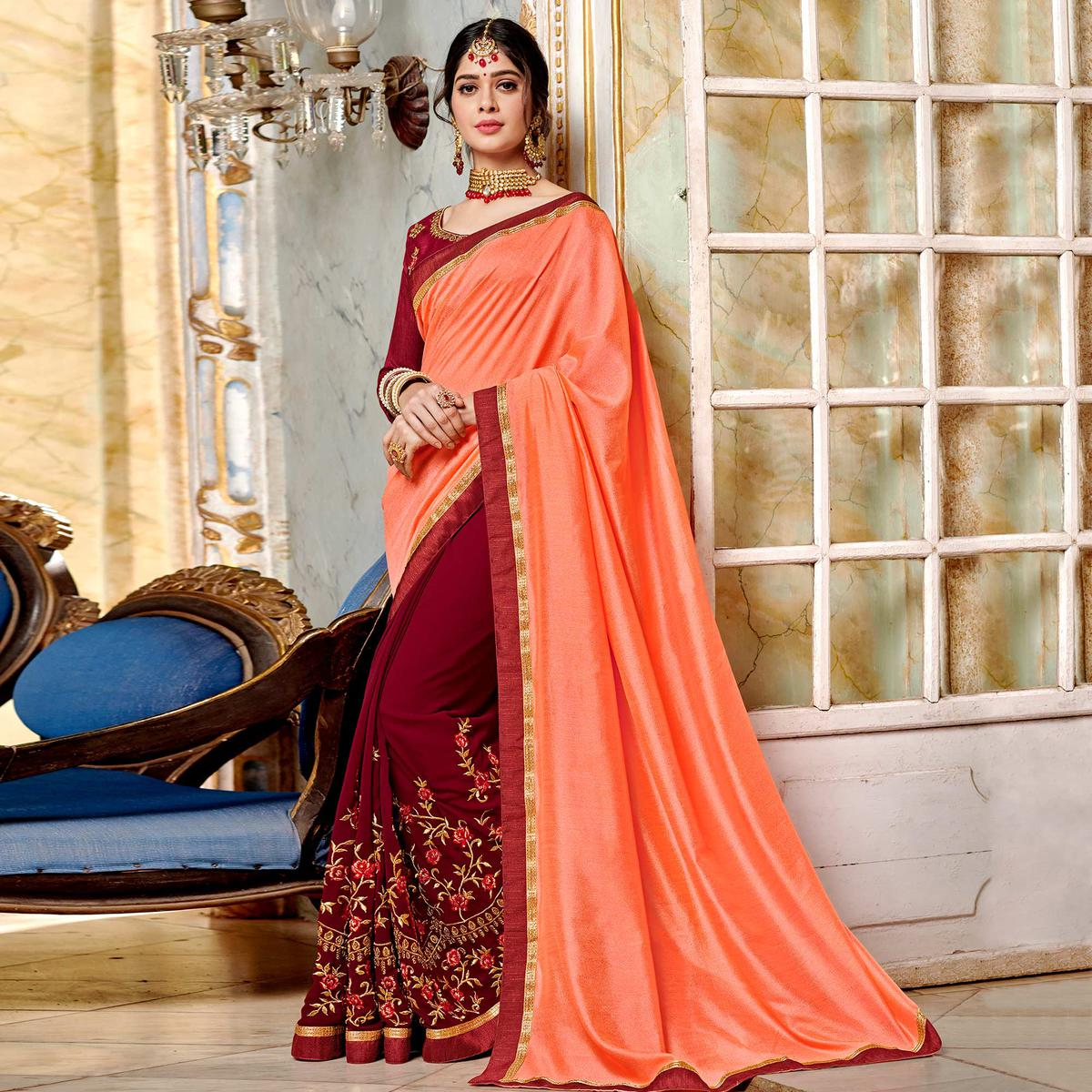 Fantastic Maroon-Peach Colored Partywear Embroidered Georgette Half-Half Saree