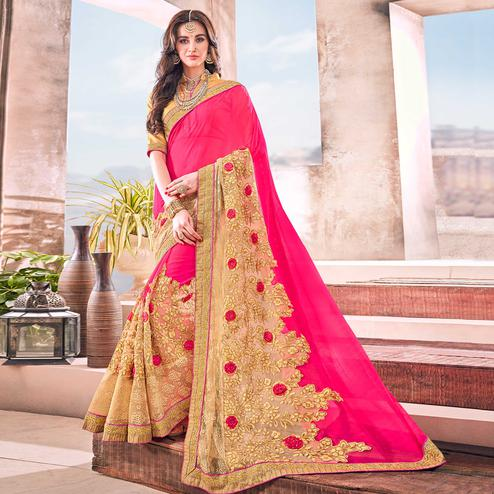 Desirable Pink Colored Partywear Embroidered Georgette Saree