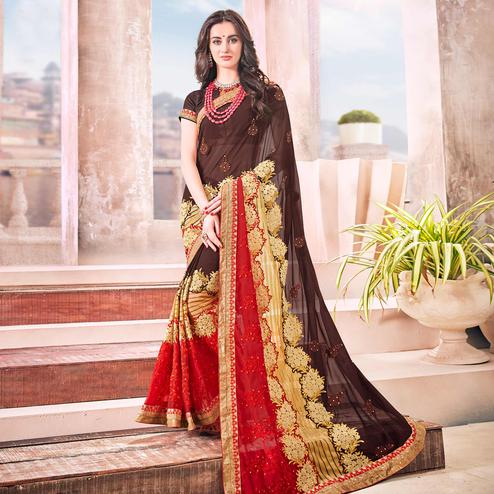 Sophisticated Brown Colored Partywear Embroidered Georgette Saree