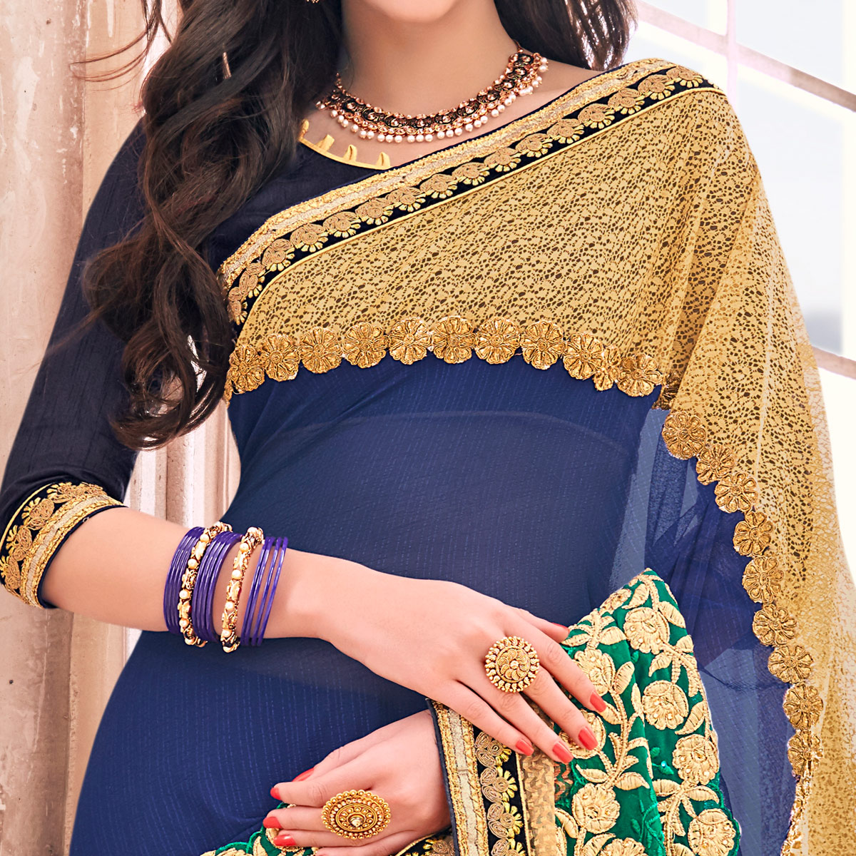 Radiant Navy Blue Colored Partywear Embroidered Georgette Saree
