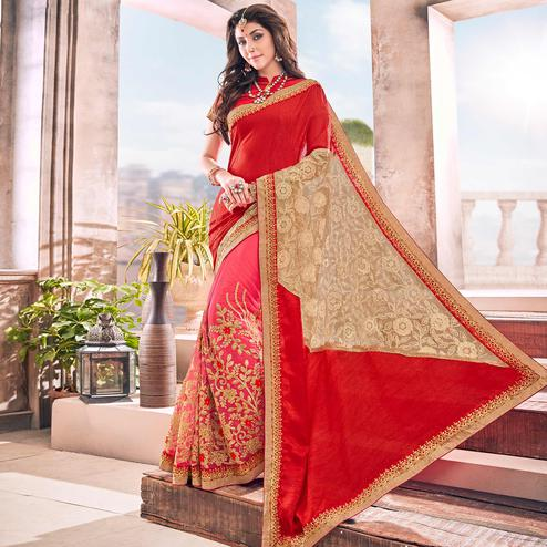 Pleasant Pink-Red Colored Partywear Embroidered Georgette Saree