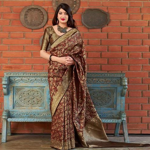 Magnetic Maroon Colored Festive Wear Printed Banarasi Silk Saree