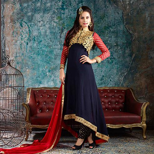 Blue and Red Asymmetrical Anarkali with Jacket