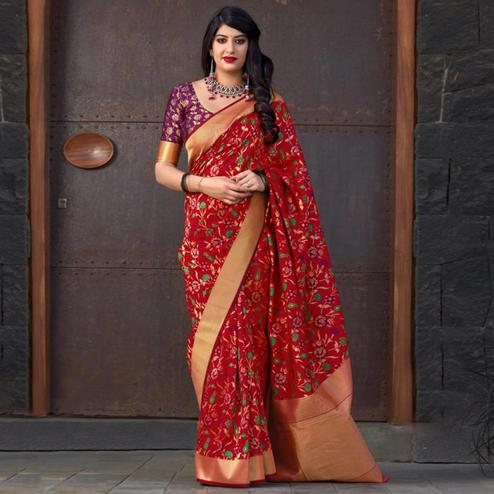 Refreshing Red Colored Festive Wear Printed Banarasi Silk Saree