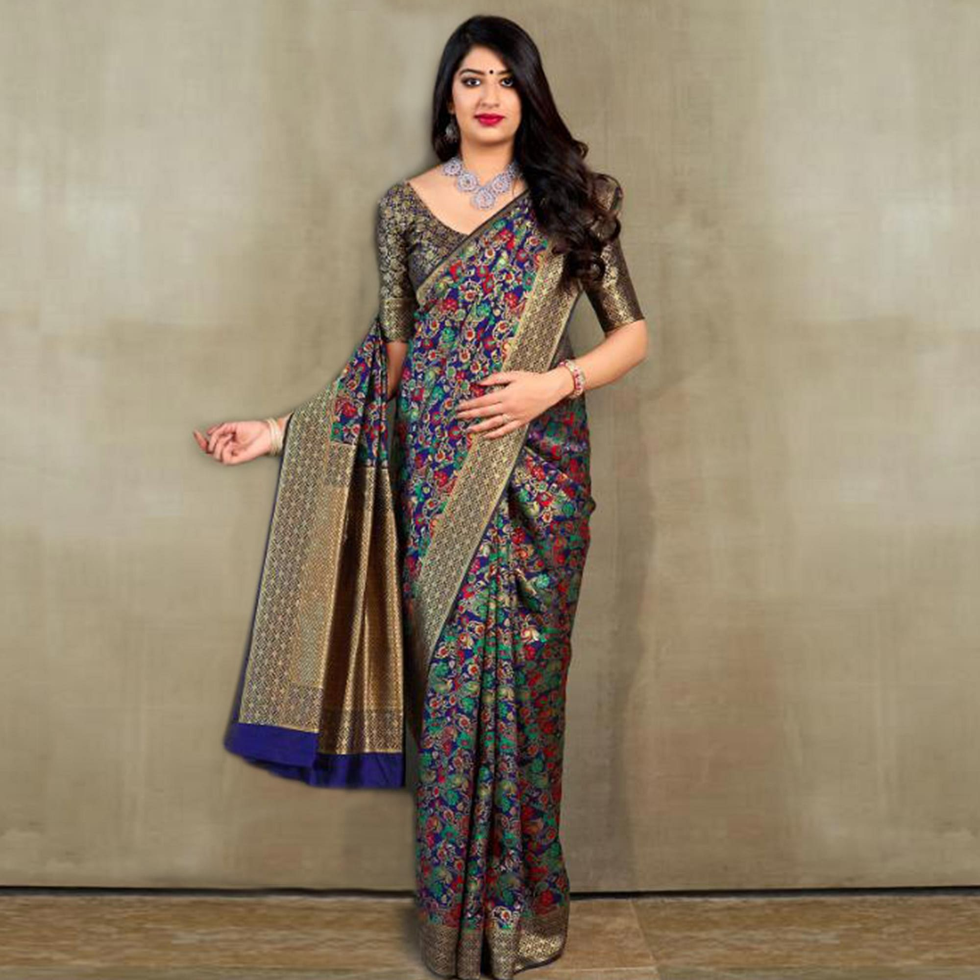 Demanding Blue-Multi Colored Festive Wear Printed Banarasi Silk Saree