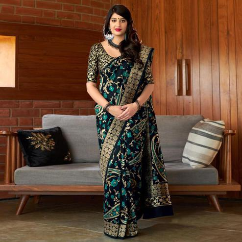 Unique Black Colored Festive Wear Printed Banarasi Silk Saree