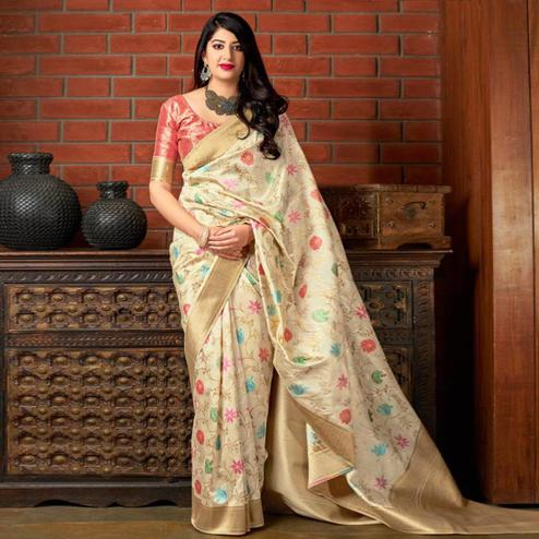 Mesmeric Beige Colored Festive Wear Printed Banarasi Silk Saree