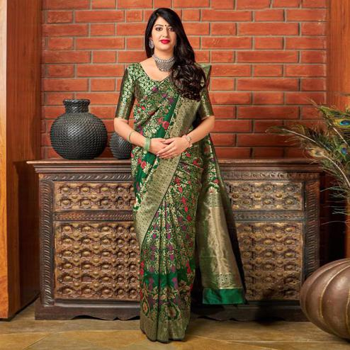 Exceptional Green Colored Festive Wear Printed Banarasi Silk Saree