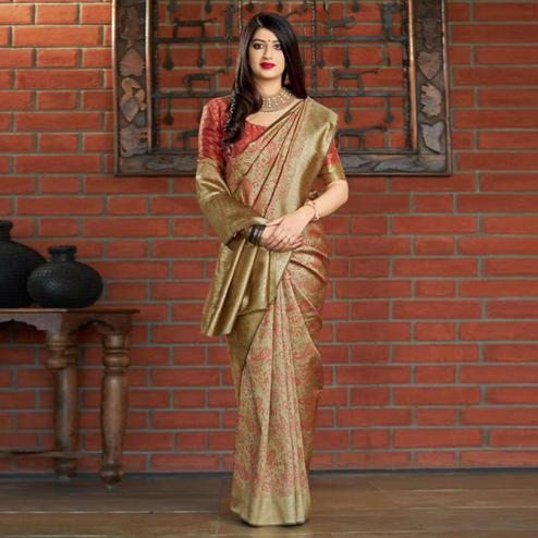 Energetic Golden Colored Festive Wear Printed Banarasi Silk Saree