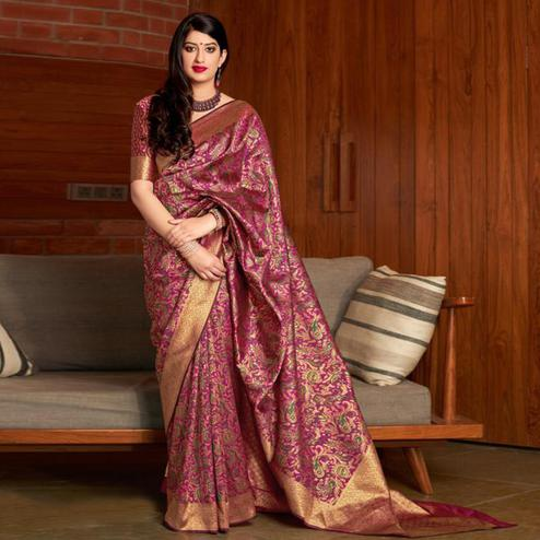 Opulent Pink Colored Festive Wear Printed Banarasi Silk Saree