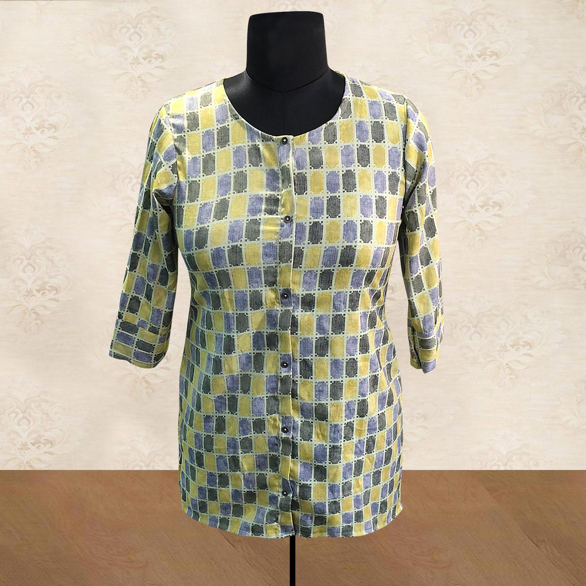 Gleaming Yellow Colored Casual Printed Cotton Top