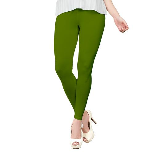 Dazzling Green Colored Casual Wear Ankle Length Leggings