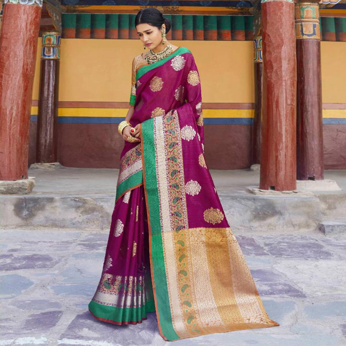 Prominent Magenta Pink Colored Festive Wear Woven Art Silk Saree