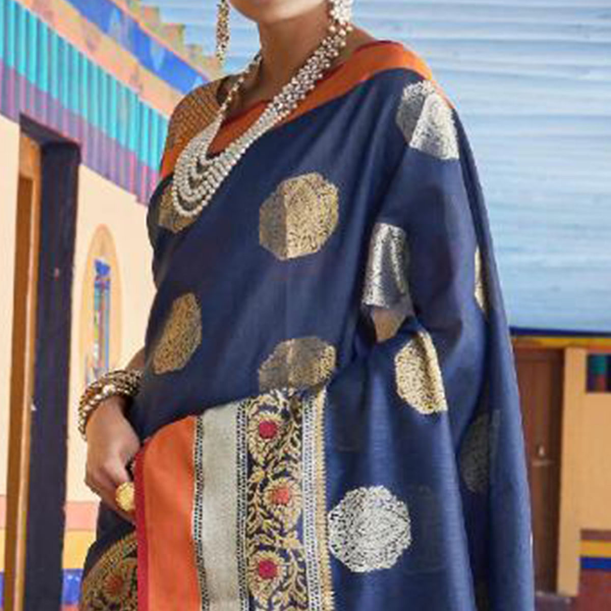 Appealing Navy Blue Colored Festive Wear Woven Art Silk Saree